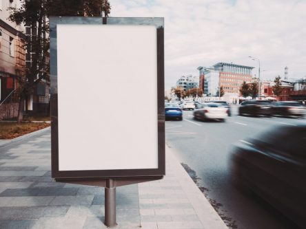 An advertising placard on the street